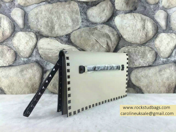 2015 Valentino Rockstud Small/Medium Clutch in White/Black Calfskin
