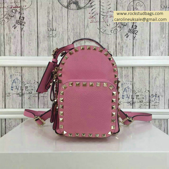 2015 Valentino Pink Palm Calfskin Rockstud Small Backpack