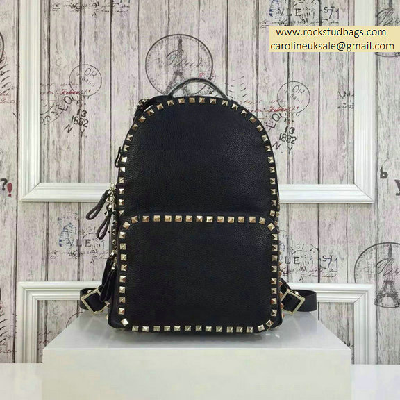 2015 Valentino Black Palm Calfskin Rockstud Medium Backpack