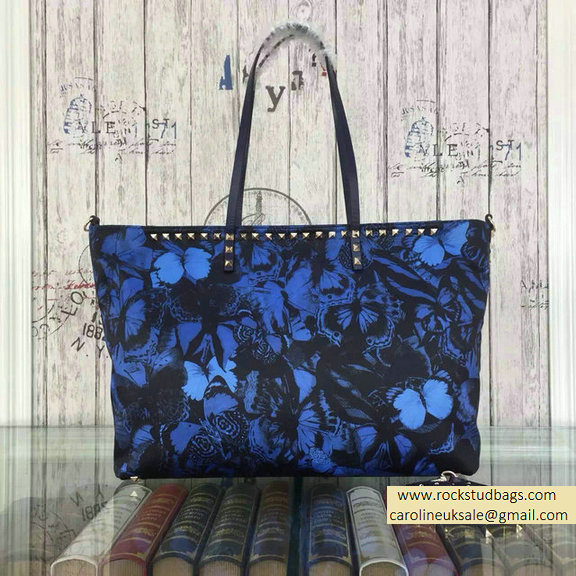 Valentino Camu Butterfly Printed Nylon Tote Bag Blue