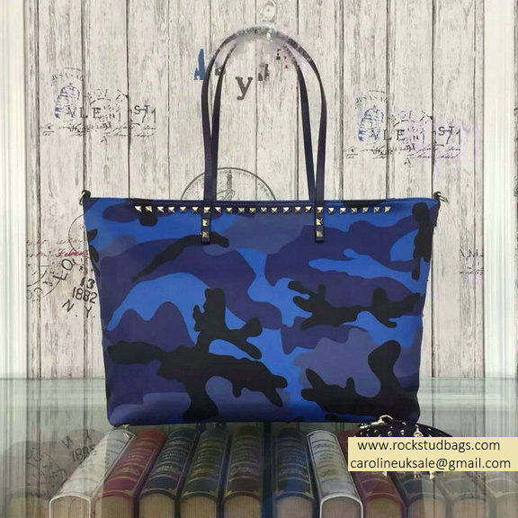Valentino Camouflage Printed Nylon Tote Bag Blue