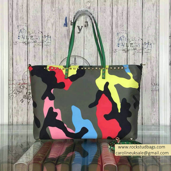 2015 Valentino Camouflage Printed Nylon Tote Bag Green