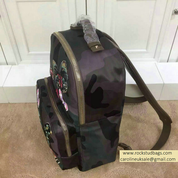 2015 Valentino Camu Butterfly Large Backpack in Camouflage Printed Canvas