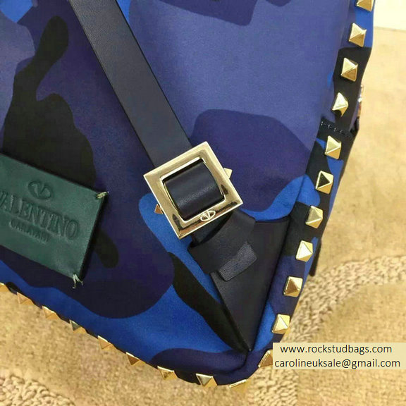 Valentino Nylon Camouflage Small Backpack Blue