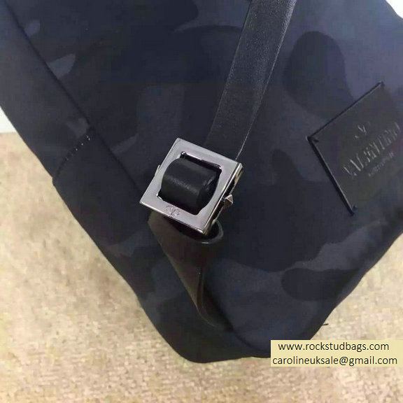 Valentino Nylon Camouflage Small Backpack Black