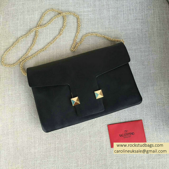 2016 Valentino Black Cafskin Cross Body Bag