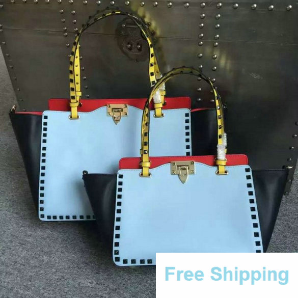 2016 Resort Valentino Beige/Blue/Pink/Green Four-Color Rockstud Medium Tote Bag
