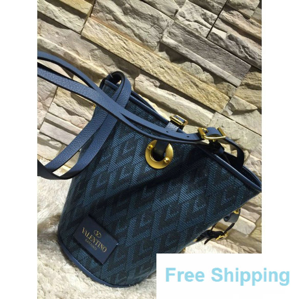 Valentino Eye On You Vitello Bucket Bag in Jacquard Fabric Blue