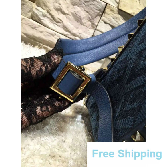 Valentino Fabric Rockstud l Backpack Army Blue