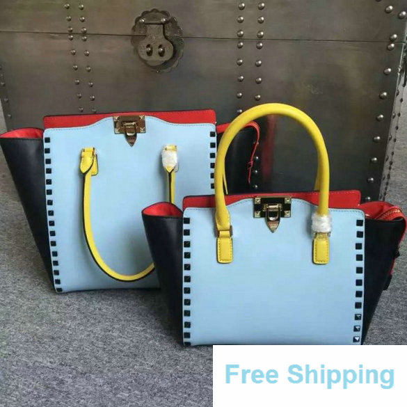 2016 Resort Valentino Four-Color Rockstud Medium Double Handle Shopper Bag