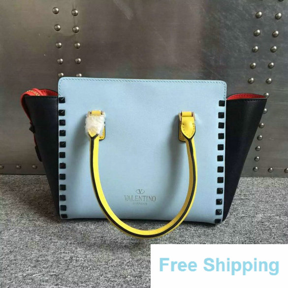 2016 Resort Valentino Four-Color Rockstud Small Double Handle Shopper Bag
