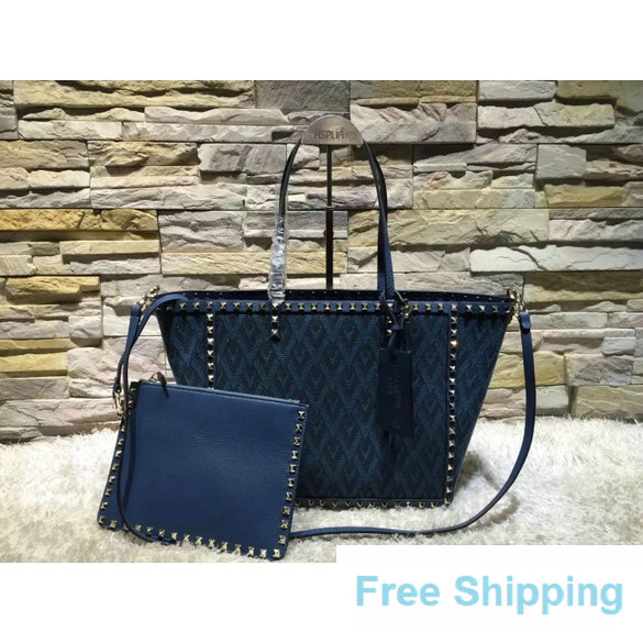 Valentino Jacquard Fabric Rockstud Double Large Reversible Tote Blue