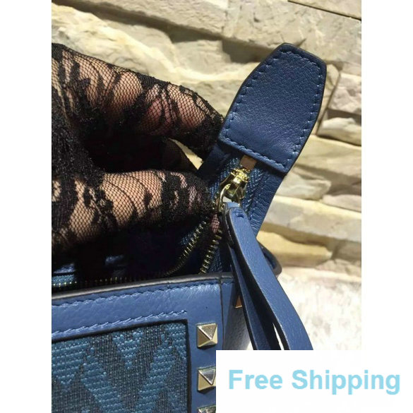 Valentino Rockstud Fabric and Calfskin Shoulder Tote Bag in Blue