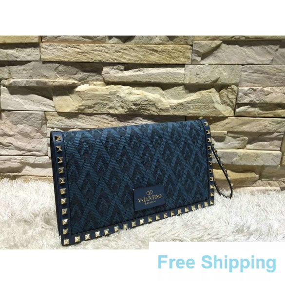 Valentino Rockstud Small Clutch in Fabric and Calfskin Blue