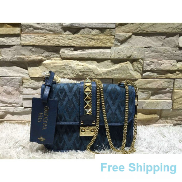 Valentino Small Fabric Chain Shoulder Bag Blue