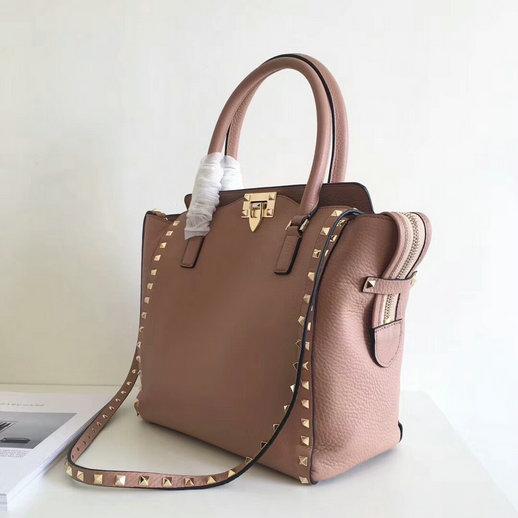 6d6c3fead229 Valentino Garavani Rockstud Double Handle Bag in Grained Calfskin Leather  larger image