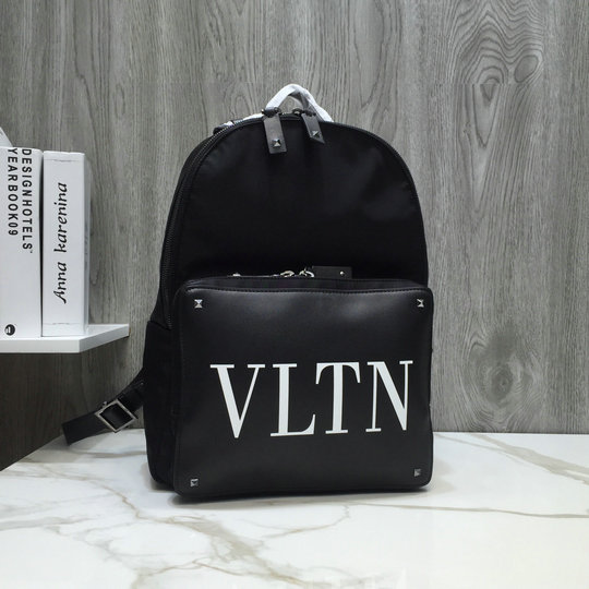 2019 Valentino VLTN Nylon Backpack with leather front pocket