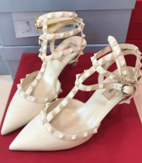 2019 Valentino Rockstud Ankle Strap Pumps in White