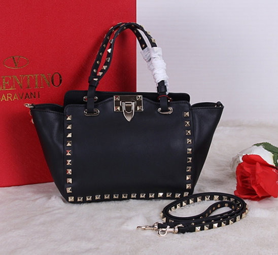 Classic Valentino Garavani Rockstud Small Tote in Black Leather